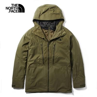 The North Face北面男款綠色三合一外套 3LZ137U