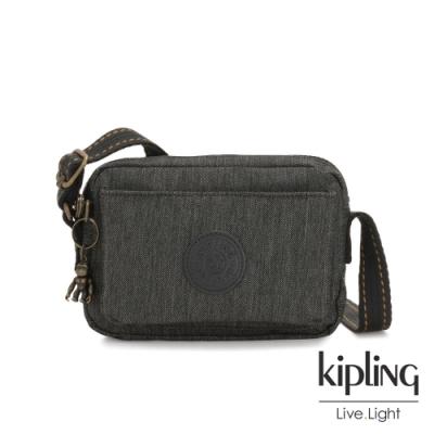 Kipling 復古質感丹寧黑前後加寬收納側背包-ABANU