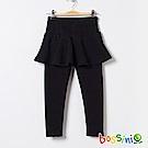 bossini女童-厚棉針織裙附貼身褲黑