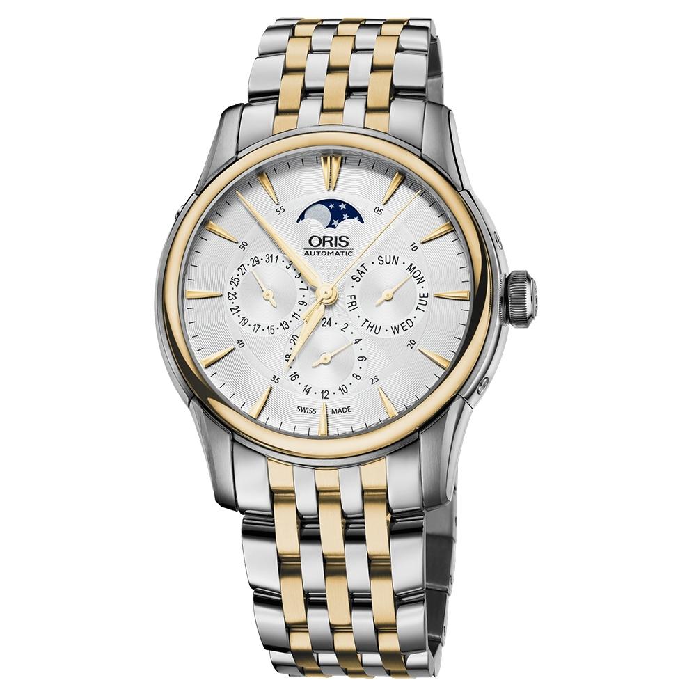Oris 豪利時 Artelier 藝術家月相盈虧機械腕錶-銀x雙色/40mm