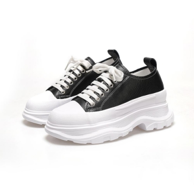 T2R-正韓空運-增高鞋厚底真皮麥昆鞋-增高7cm-黑/白/卡其
