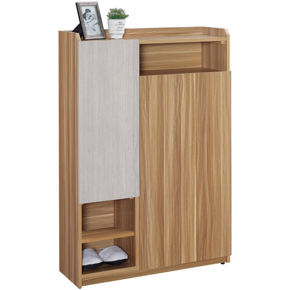 文創集 娜塔時尚2.8尺二門雙色鞋櫃/玄關櫃-80x32x119.5cm免組