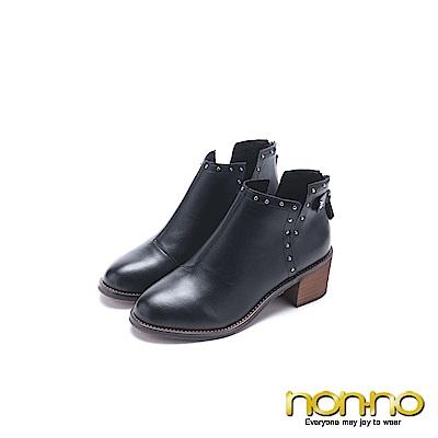 nonno 諾諾 皮製牛仔風粗跟短靴 黑
