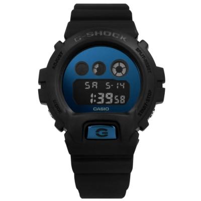 G-SHOCK CASIO卡西歐 霧黑 運動計時 防水 電子橡膠手錶-藍x黑/48mm