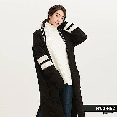 H:CONNECT 韓國品牌 女裝 - 開襟長針織外套-黑(快)