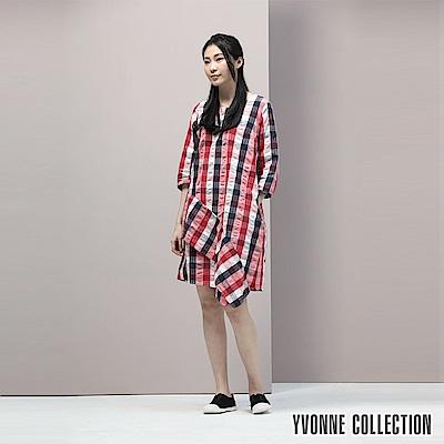 YVONNE泡泡格紋不對稱下擺洋裝- 莓紅