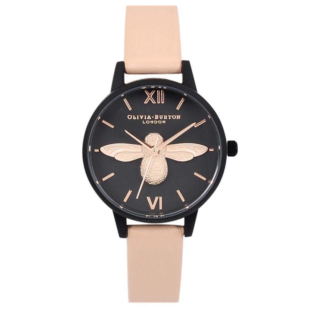 Olivia Burton 英倫復古手錶 3D立體蜜蜂花園 裸粉色皮革錶帶黑色錶框30mm