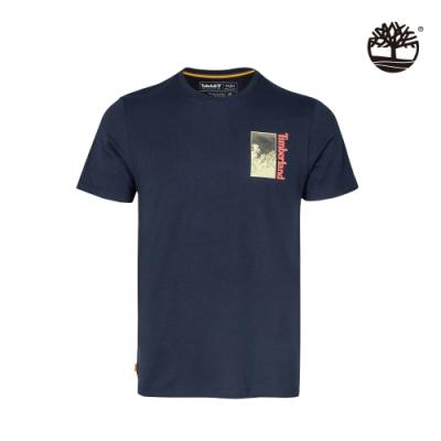 Timberland 男款深寶石藍色雙面框景印花有機棉 T恤|A24XP