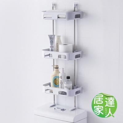 居家達人 壁掛式無痕貼 可立式馬桶收納置物架_三層(白色)
