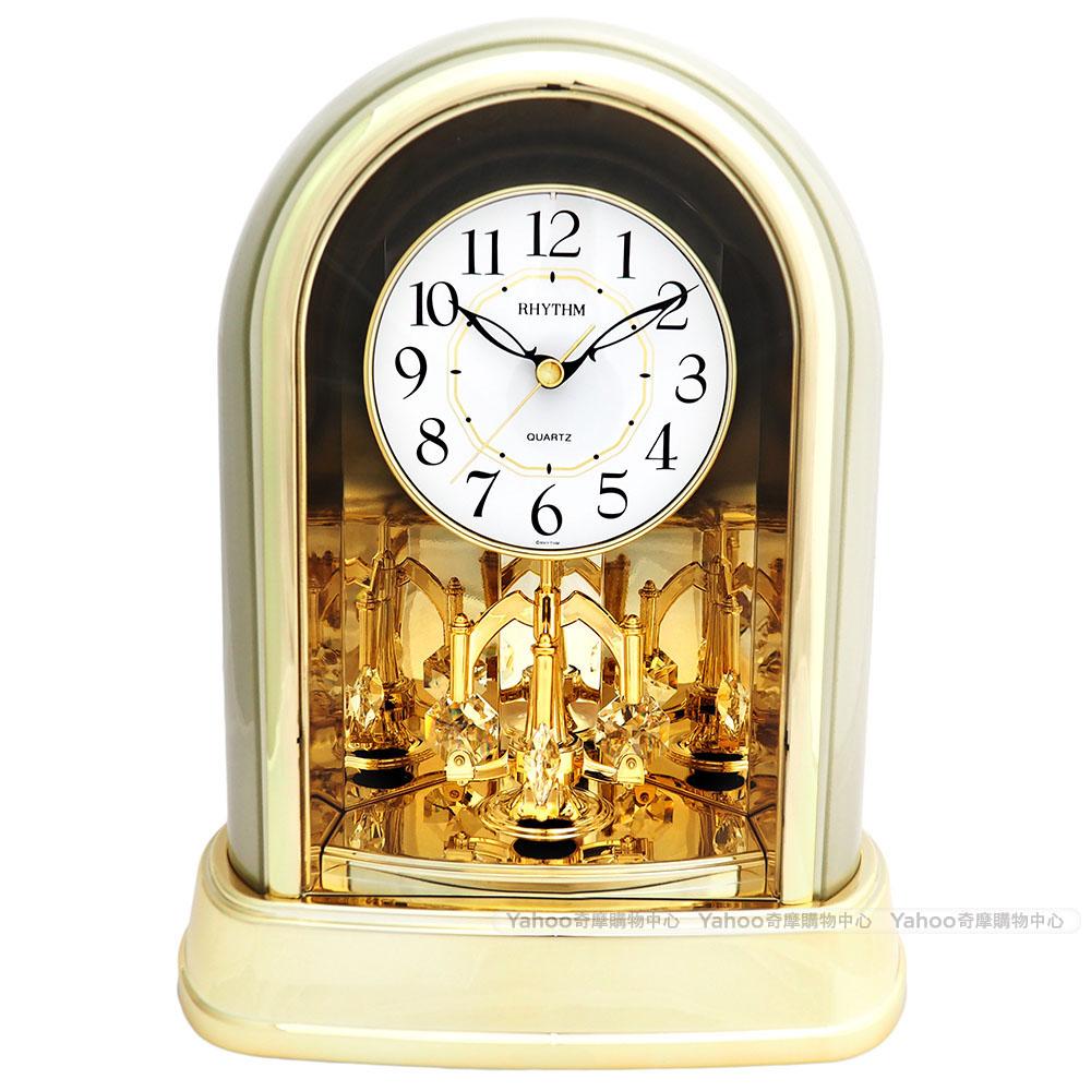 RHYTHM日本麗聲 典雅施華洛世奇水晶座鐘(古典素金)/22cm