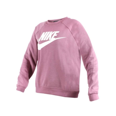 NIKE 女長袖T恤-長T T恤 刷毛 保暖 慢跑 粉紫白