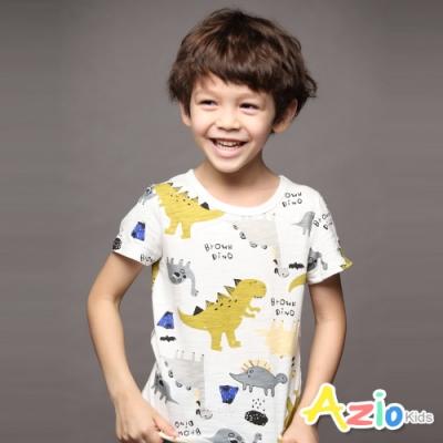 Azio 男童 上衣 滿版棕色恐龍竹節棉短袖上衣(白)