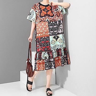 復古印圖荷葉裙擺寬鬆洋裝-(圖色)Andstyle