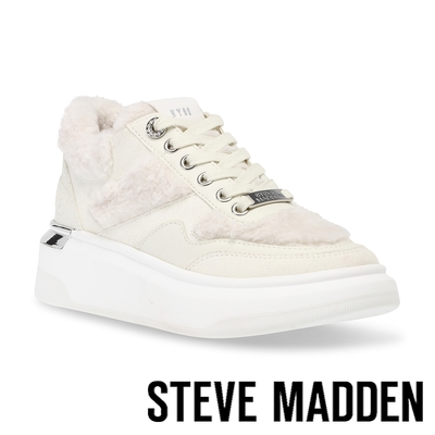 STEVE MADDEN-GRANDIOSE 毛毛厚底綁帶休閒鞋-米色