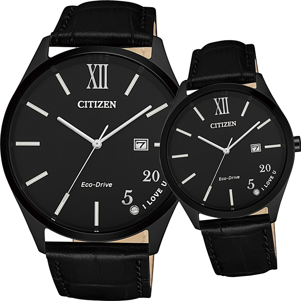 CITIZEN 浪漫520光動能對錶(BM7357-10E+EW2457-18E)