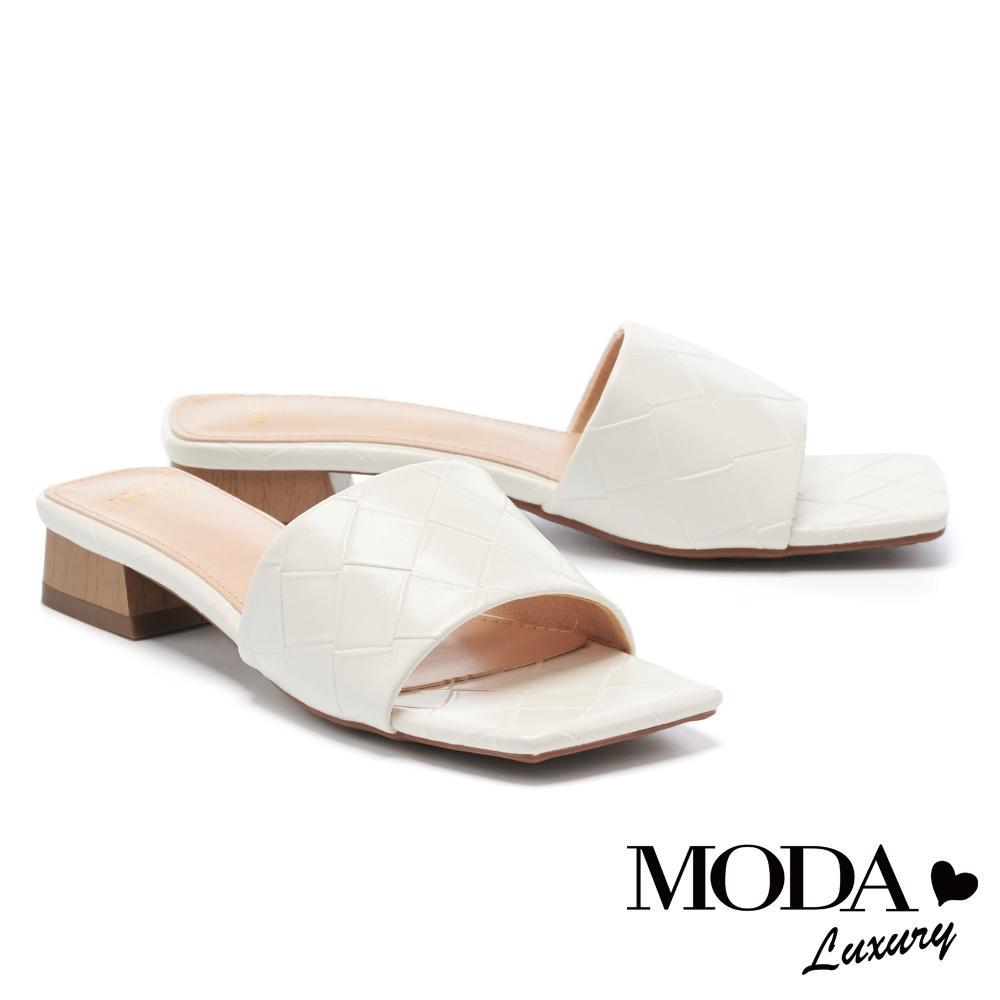 拖鞋 MODA Luxury 氣質風尚編織質感一字方頭低跟拖鞋-白