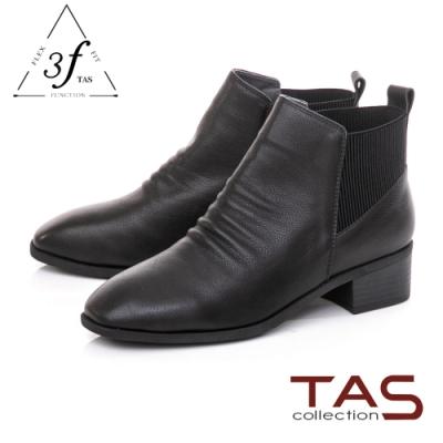 TAS質感牛皮拼接鬆緊帶粗跟短靴-女神黑