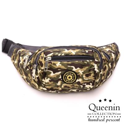 DF Queenin流行 - 戶外休閒運動防潑水迷彩尼龍斜跨胸包腰包-共4色