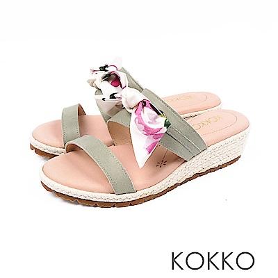 KOKKO - 陽光芬芳蝴蝶結草編超軟底拖鞋-青草綠