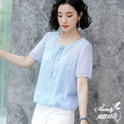 Mandy國際時尚 寬鬆顯瘦蕾絲系帶雪紡上衣 (2色)【韓國服飾】