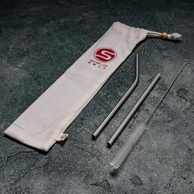 [QC館]SUS316L不鏽鋼環保兒童吸管套組No1(細直+細彎+通用刷)附有機棉收納袋.