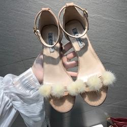 KEITH-WILL時尚鞋館 韓國設計三球時尚粗跟涼鞋 粉