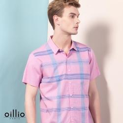 oillio歐洲貴族 短袖柔軟純棉襯衫 舒適透氣 格紋設計 紅色
