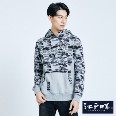 EDO KATSU江戶勝 迷彩潮流 厚連帽T恤-男-灰色