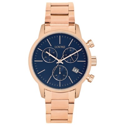 LOVME 城市獵人不鏽鋼三眼時尚手錶-IP玫x寶藍/43mm