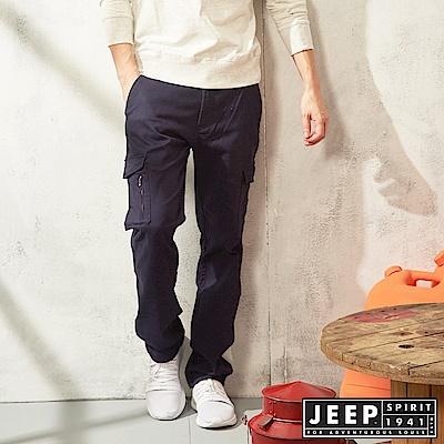 JEEP 經典休閒口袋工作褲-深藍色