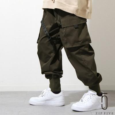 ZIP日本男裝 綁帶造型工裝束口褲軍裝褲 (2色)
