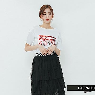 H:CONNECT 韓國品牌 女裝-亮片造型T-shirt-白