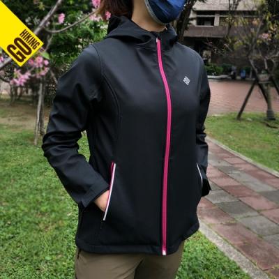 【GoHiking】女Soft Shell超潑水防風保暖外套[黑色]HSJB2WJ201