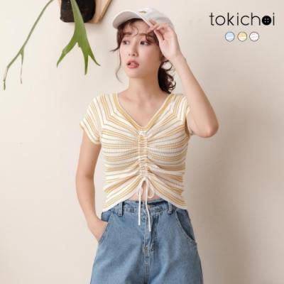 東京著衣 青春洋溢撞色條紋抽繩設計多色上衣(共三色)