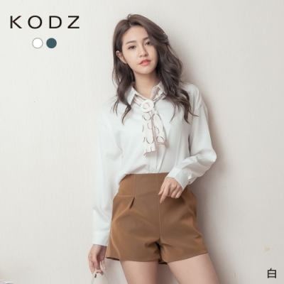 東京著衣-KODZ OL時尚簡約率性基本款附領巾襯衫(共二色)