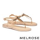 涼鞋 MELROSE 亮麗時尚閃爍晶鑽夾腳涼鞋-米