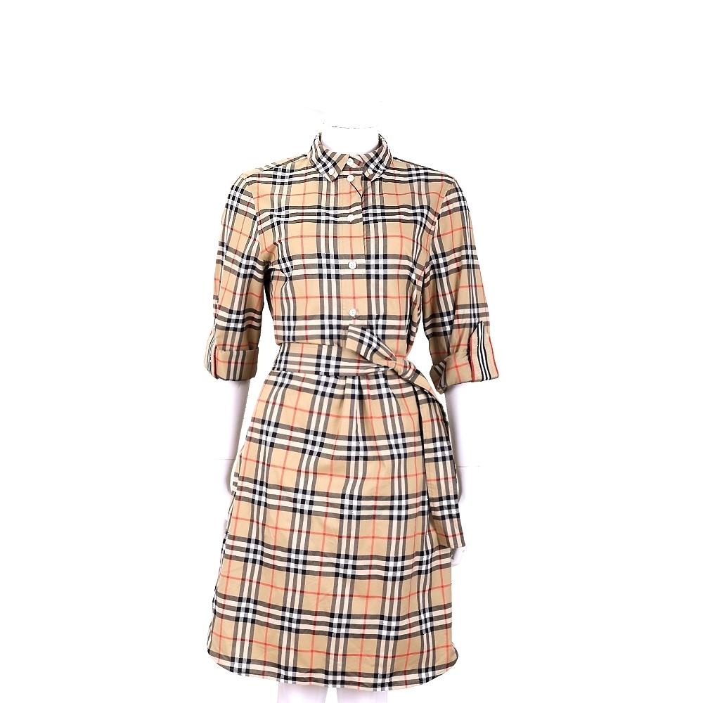 BURBERRY Vintage 格紋棉質襯衫式綁腰洋裝(典藏米色)