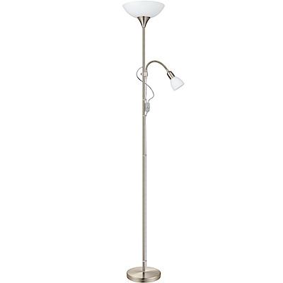 EGLO歐風燈飾 現代銀玻璃雙燈立燈/落地燈(不含燈泡)