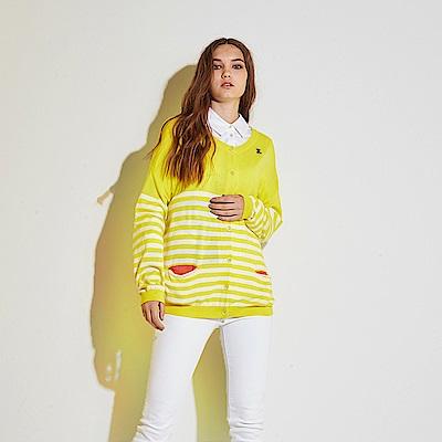 Hana+花木馬 輕時尚亮眼條紋印花撞色拼接棉製長袖針織必備外套-黃