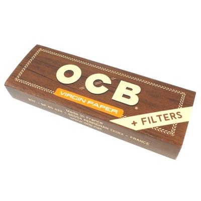 OCB-Virgin Paper+Tips 1 1/4-未漂白超薄捲煙紙+自捲式紙濾嘴*3包