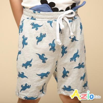 Azio Kids 男童 短褲 滿版恐龍印花休閒運動短褲(灰)