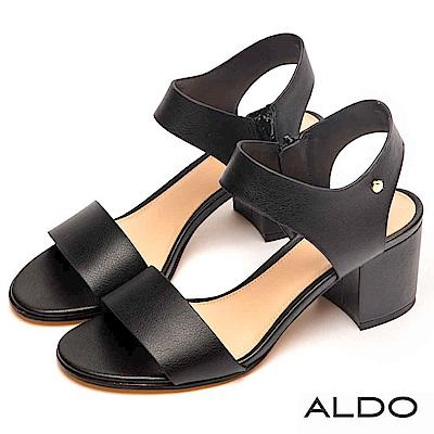 ALDO 原色寬版鏤空繫踝拉鍊式粗跟涼鞋~尊爵黑色
