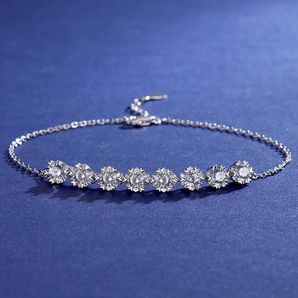 米蘭精品 莫桑鑽手鍊925純銀銀飾-0.3克拉雪花八鑽唯美情人節生日禮物女飾品73yk99