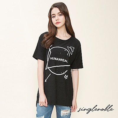 singlenoble 交錯空間幾何圖騰設計上衣(3色)
