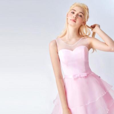 OMUSES 蕾絲拼接歐根紗短禮服