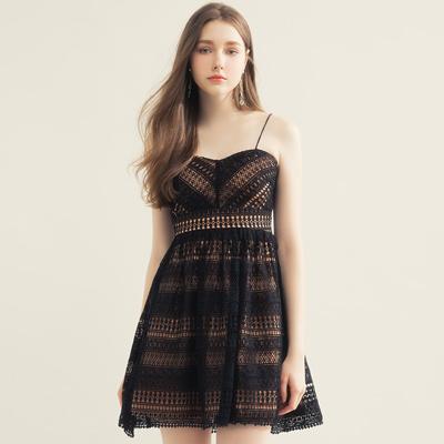 AIR SPACE 甜美細肩美胸蕾絲短洋裝(黑)