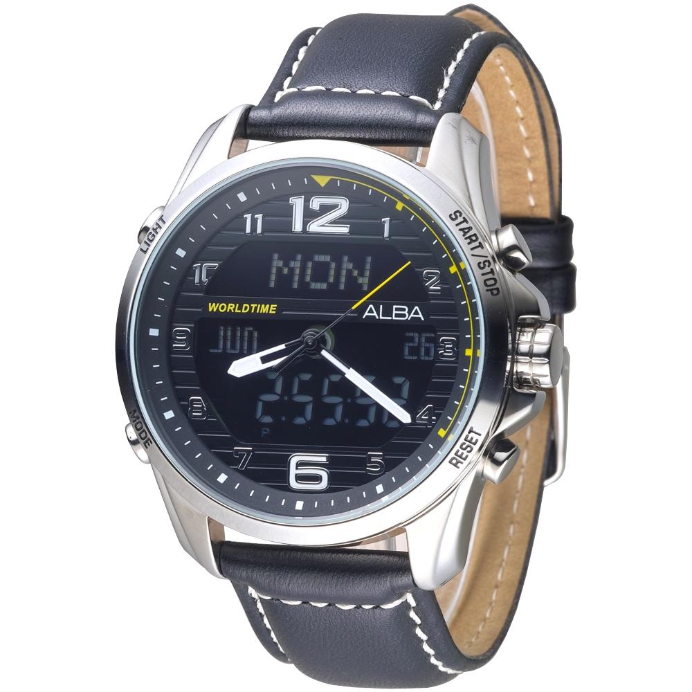 ALBA 飛鷹戰士多功能數位雙顯男錶-黑(AZ4011X1)/40mm @ Y!購物