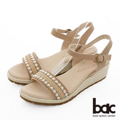 【bac】繽紛曼谷 - 波希米亞金屬珠飾一字帶楔型底台涼鞋-米色