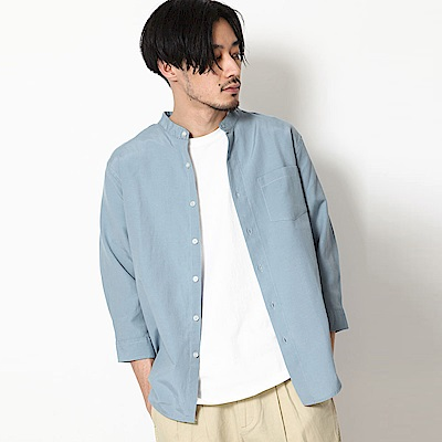 立領短袖襯衫七分袖素色條紋(10色) ZIP日本男裝
