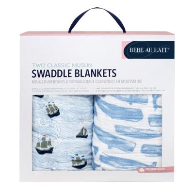 美國 Bebe Au Lait 經典棉紗布包巾2入禮盒 (帆船小鯨魚)